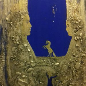 8800 kr 60x80 cm Guld akryl och sten